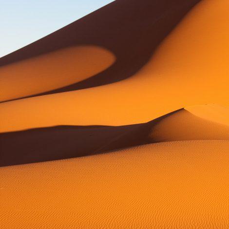 Dunes orangées du désert de Mauritanie, quand les ombres s'allongent à l'approche du soir.