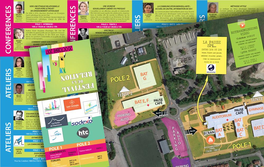 dépliant et plan pour le programme du festival de la relation. Design et conception : Fabien Guichardan, Chercheur d'images